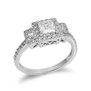 Sterling Silver Halo CZ Princess Cut Engagement Ring Three Stone size  5-10