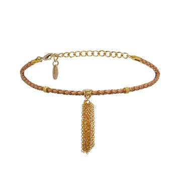 Mini Tartine Choker in Tan and Gold