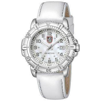 Luminox Ladies Steel Colormark - White MOP Dial - Steel - White Leather Strap