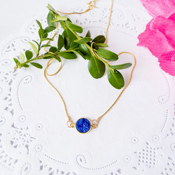 Gold Plated Necklace With Blue Druzy Cabochon Pendant / Resin Drusy  Necklace / Silver Drusy Necklace / Blue Druzy Cabochon Necklace