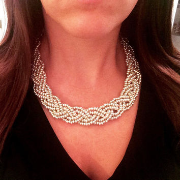 Silver Statement Necklace, Bold Necklace, Metallic Silver Necklace, Beaded Necklace, Silver, Chunky Necklace, Braided Necklace