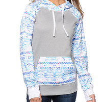 Geometric Print Fleece Hoodie Sweater With Pocket
