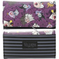 Licensed cool Disney Villains Ladies Flap Wallet Billfold Cruella Maleficent Ursula Evil Queen