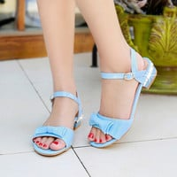 Lady  Buckle strap Sweet Patent leather Bow Plus size 12 Low Rhinestone Square Heel Sandals shoes Women Pumps Princess Footwear