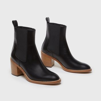 Tall Heeled Chelsea Boot - Black