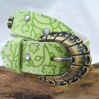 Lime Green Leather With Swarovski Crystals Dog Collar by Avistudio