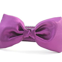 Purple Bow Tie Dog Collar - Dog Bow Tie Collar - Wedding Attire for Dogs - dog wedding - purple satin dog bow tie - violet dog bow tie
