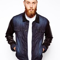 ASOS Coated Denim Jacket With Leather Look Sleeves - Blue