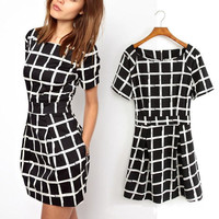 Zanzea Fashion Summer Style Women Dresses 2016 Black White Plaid Dress Round Neck Short Sleeve Mini Vestidos WIth Pockets M L XL