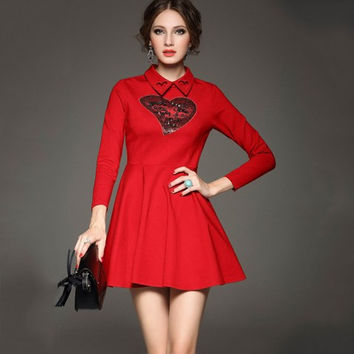 Lapel Long Sleeve A-Line Dress with Red Sequins heart