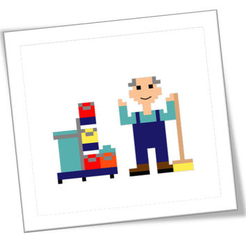 Modern pixel people cross stitch pattern to make a christmas gift for a male cleaner. Pattern comes in English, Dutch and Spanish