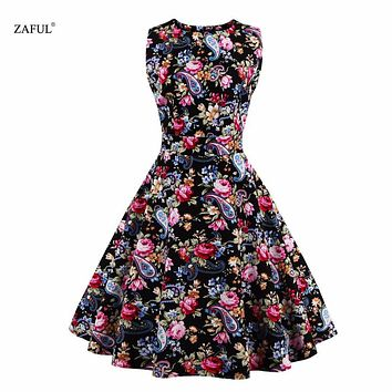 Zaful Plus Size Vintage Women Summer Dress Noble 1950s 60s  O-Neck Sleeveless Cotton Flower Print Formal Dress Vestidos