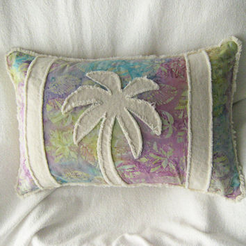Palm tree boho bolster pillow cover, multi color batik with pastel turquoise, violet, purple, and yellow and natural unbleached denim 12x18