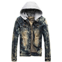 Vintage Men Fashion Denim Jacket with Hood