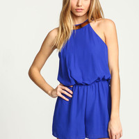 ROYAL GOLD COLLAR CHIFFON ROMPER