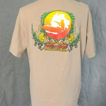 1980s Ocean Pacific T Shirt, Surfer Beach Graphic Tees, Vintage OP Tshirt, 90s Surfing Shirt, Gnarly Skater Burnout Clothing Mens Size Large
