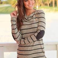 Taupe and Black Striped Top with Buttons