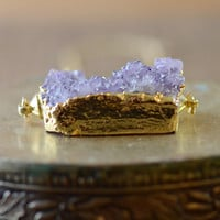Large Amethyst Druzy Necklace in Gold - Layering Necklace - OOAK