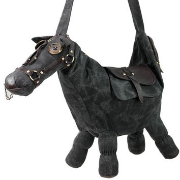 Medium Black Canvas Horse Tote Messenger Bag