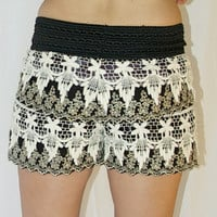 Lace Shorts in Black with Gold Embroidery