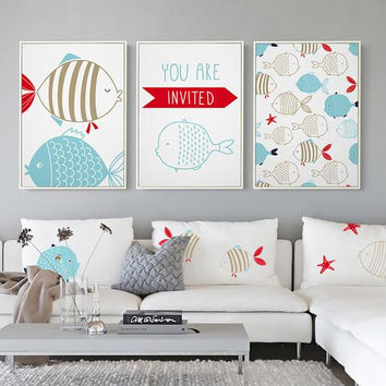 Fish Poster Writing Picture Digital Canvas Art Wall Oil Paintings Mediterranean style Kids Decor Canvas Pictures for Living Room