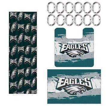 Philadelphia Eagles NFL 15 Piece Rug Shower Curtain Bath Set