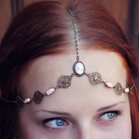 pink cameo bridal/formal head chain