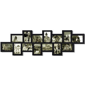 Decorative Black Wood Wall Hanging Collage Picture Photo Frame Basket-Weave Style 8 Openings 4x6
