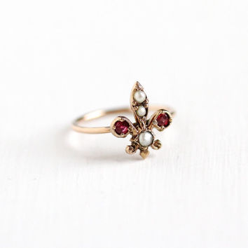 Antique 8k Rose Gold Fleur De Lis Ring - Vintage Edwardian Seed Pearl & Pink Garnet Doublet Stick Pin Conversion Fine Lily Iris Jewelry