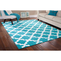 Walmart: Mainstays Rug in a Bag Quatrefoil Area Rug, Teal/White