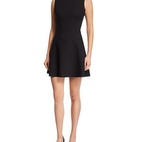 Victoria Beckham Sleeveless High-Neck Matte Crepe Dress, Black