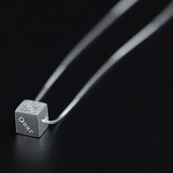 womens dear cube shape pendant necklace gift 103  number 1