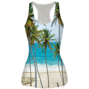 Womens Beach Prined Slim Tank Top Casual Sports Vest for Summer Free Shipping
