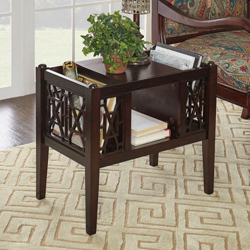 Powell Layla Magazine / End Table in Black, Cherry and Cream