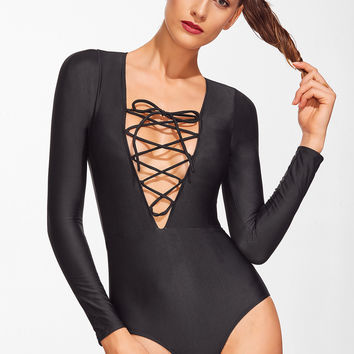 Black Lace Up V Neck Long Sleeve Swimwear