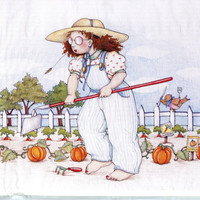 "Mary Engelbreit Daisy Kingdom 6521 ""THE GARDENER"" Iron On Transfer Girl Gardening T-Shirt Fall Autumn Crafts Sweatshirt Canvas Bag Iron On"