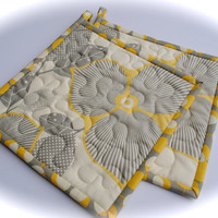 CLEARANCE Amy Butler Potholders, Designer Potholders, Quilted Pot holders, Optic Blossom, Midwest Modern
