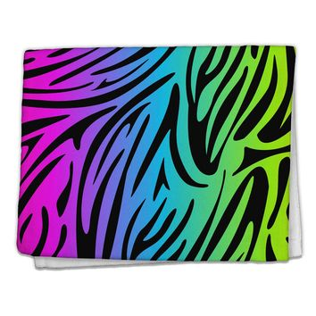 "Rainbow Zebra Print 11""x18"" Dish Fingertip Towel All Over Print"