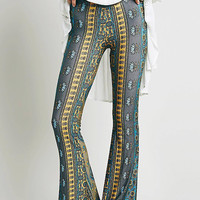 Grey High-Waisted Printed Boot Cut Flare Trousers