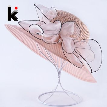 Summer Wide Brim Sun Hats For Women Organza Flower Straw Cap Lady Sun Protection Bucket Chapeau Female Vacation Beach Floppy Hat