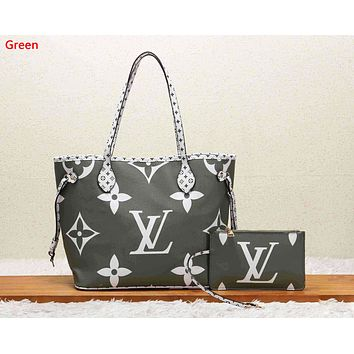 LV Louis Vuitton Fashion New Monogram Print Shopping Leisure Shoulder Bag Handbag Two Piece Suit Women Green