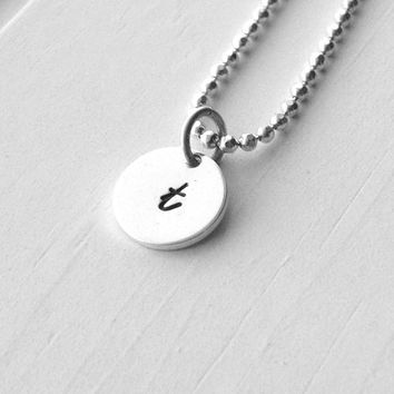 Small Initial Necklace, Sterling Silver Jewelry, Letter t Necklace, Initial Jewelry, Hand Stamped Jewelry, Monogram, Charm Necklace, t, .925
