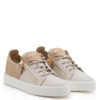 Giuseppe Zanotti Gz Double White Calf Leather And Beige Suede Low-top - Best Deal Online