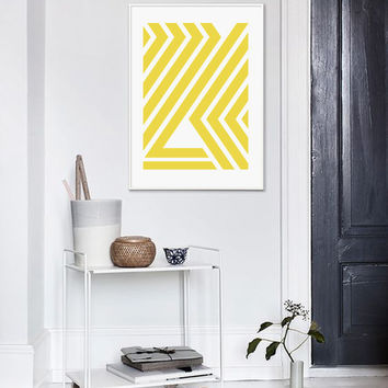 Yellow Stripes Print, Yellow Geometric Print, Mid Century, Printable Art, Yellow And White, Scandinavian, Affiche Geometrique