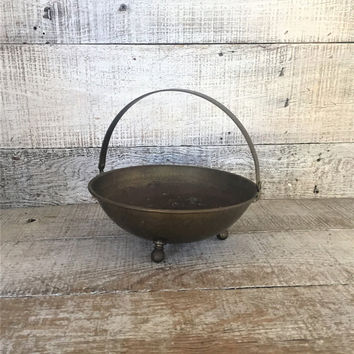 Brass Basket Hammered Brass Trinket Dish Brass Bowl with Handle Brass Nut Dish Brass Candy Dish Brass Footed Bowl Small Brass Planter