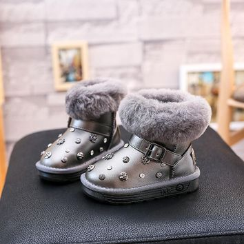 Winter children snow boots baby girls winter shoes with fur rivet ankle boots for girls children boots kids boots