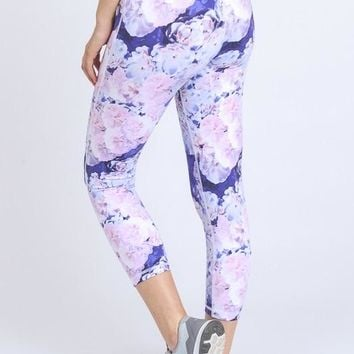 KATY NOUVEAU FLORAL PRINT WORKOUT CAPRI LEGGINGS