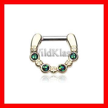 Gold Septum Clicker Aurea Sparkle 16g 14g Septum Ring Cartilage Earrings Nipple Ring Circular Barbell Tragus Jewelry Helix Conch