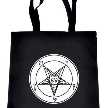 Solid White Sabbatic Baphomet Tote Book Bag Satan Inverted Pentagram