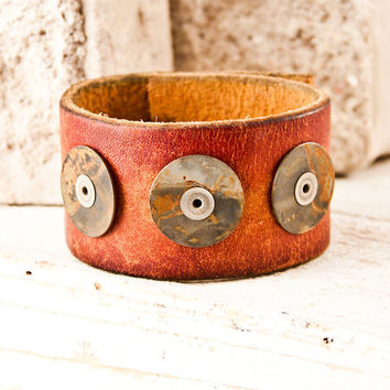 Men's Accessories - Man's Leather Cuff - Jewelry - Wristbands - Gift for Him - Made in the USA - On Sale